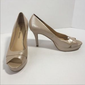 Audrey Brooke shimmery nude peep toe heels, 8